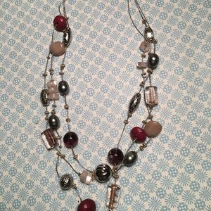 Chico's Raspberry Tones Short Necklace